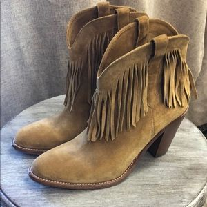 Saint Laurent Paris suede fringed bootie Worn once